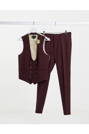 ASOS Wedding super skinny wool mix suit waistcoat in burgundy twill