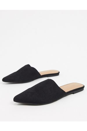 ASOS Lava pointed flat mules in black