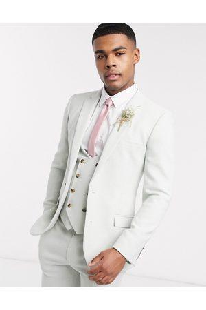 ASOS Wedding super skinny wool mix suit jacket in light blue twill