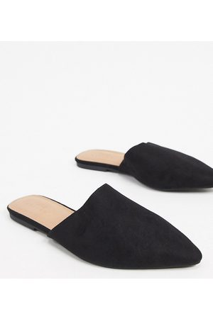 ASOS Wide Fit Lava pointed flat mules in black