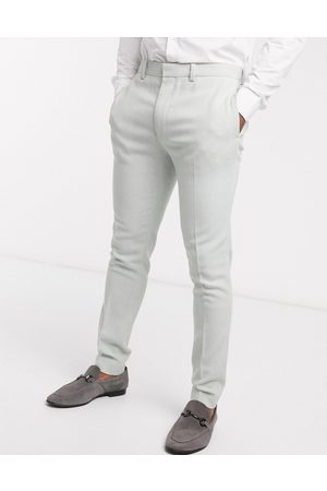ASOS Wedding super skinny wool mix suit trouser in light blue twill