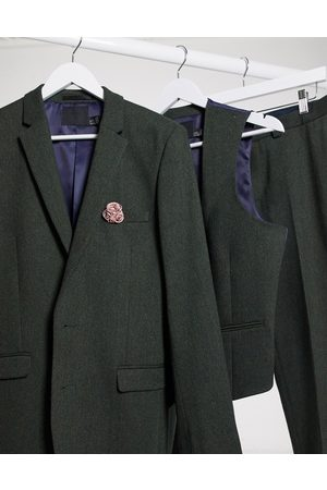 ASOS Wedding super skinny wool mix suit jacket in khaki twill