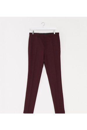 ASOS Tall wedding super skinny wool mix suit trousers in burgundy