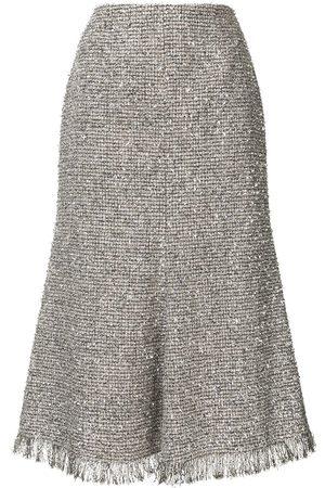 GOEN.J Mujer Midi - Falda midi de tweed metalizada