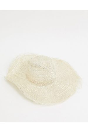 ASOS Floppy natural straw fedora with raw edge