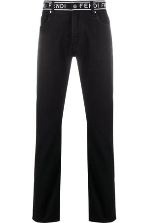 Fendi Embroidered detail slim-fit jeans