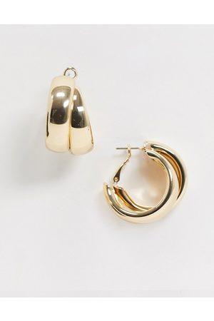 ASOS Hoop earrings in thick cross design gold tone
