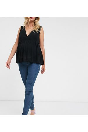 Mama Licious Mujer Skinny - Mamalicious Maternity over the bump skinny jeans in blue