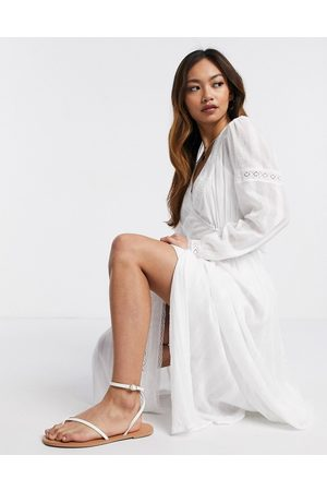 ASOS Lace insert wrap maxi dress in white