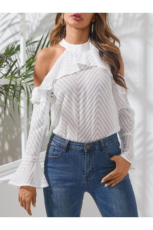 YOINS White Ruffle Trim Cold Shoulder Bell Sleeves Blouse