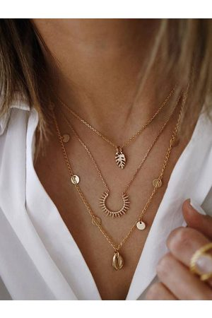 YOINS Alloy Gold Shell Round Leaf Multilayer Necklace