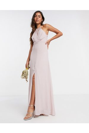 TFNC Bridesmaid wrap lace maxi dress in pink