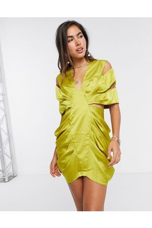 ASOS Extreme drape satin mini dress with cut out detail in olive