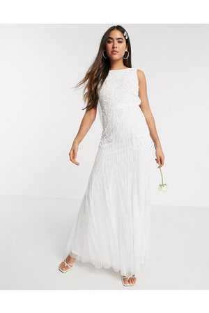 Amelia Rose Bridal embellished cowl back maxi in ivory