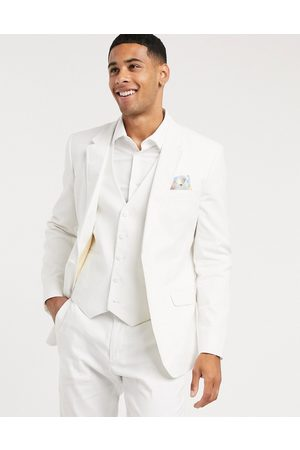 ASOS Wedding skinny suit jacket in stretch cotton linen in white