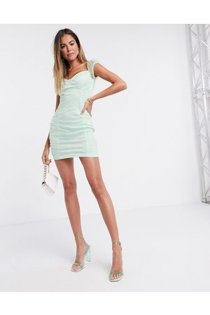 Femme Luxe Organza ruched mini dress in mint