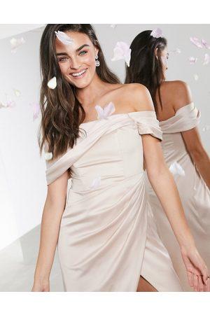 ASOS Satin bardot drape wrap maxi dress in pink