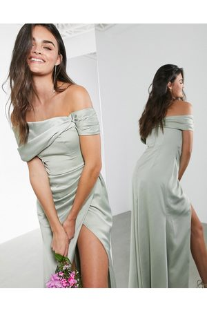 ASOS Satin bardot drape wrap maxi dress in sage green