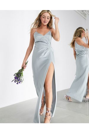 ASOS Satin cami maxi dress with drape detail in ice blue