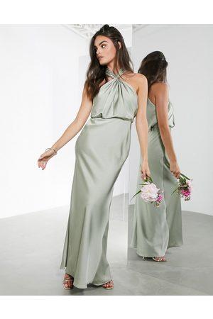 ASOS Satin ruched halter neck maxi dress in sage green