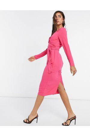 ASOS Tie wrap front midi pencil dress in hot pink