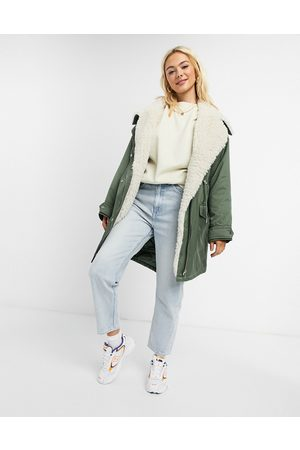 ASOS Waterfall parka with borg lining in khaki