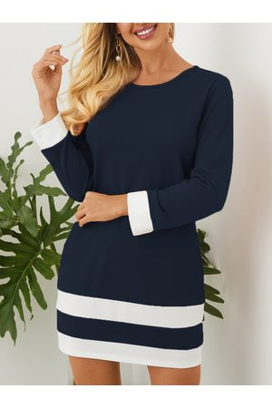 YOINS Casual Patchwork Crew Neck Long Sleeves Mini Dress