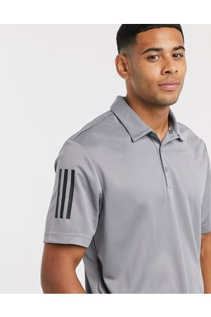 adidas Three stripe polo in grey