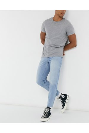 ASOS Classic rigid jeans in light blue wash with raw hem