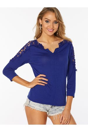 YOINS Lace Insert See Through V-neck Long Sleeves T-shirts