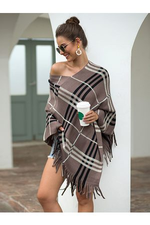 YOINS Tan Check Tassel Details One Shoulder Long Sleeves Cape Coat