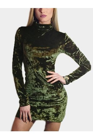 YOINS High Neck Long Sleeves Bodycon Mini Dresses