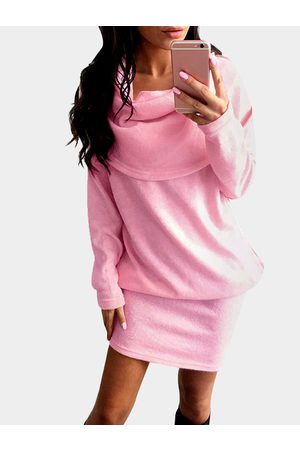 YOINS Fashion Rolled Neck Long Sleeves Midi Dress