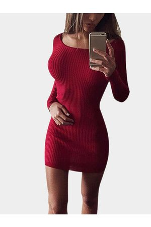 YOINS Sexy Plain Color Mini Dress with Round Neck
