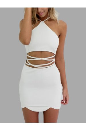 YOINS Sexy Halter Neck & Cutout Waist Mini Dress in