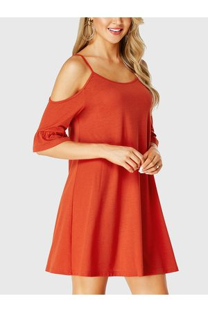 YOINS Spaghetti Strap Cold Shoulder Ruffle Sleeves Dress