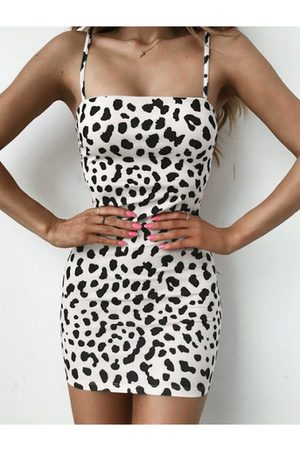 YOINS Sexy Backless Leopard Square Neck Spaghetti Strap Dress