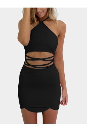 YOINS Sexy Halter Neck & Cutout Waist Mini Dress