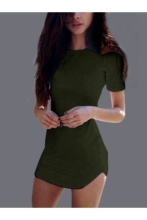 YOINS Sexy Curved hem Bodycon Fit Dress With Short Sleeves