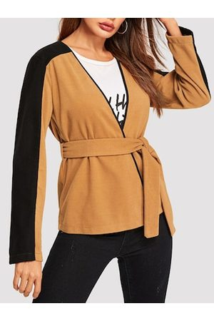 YOINS Yellow Patchwork V-neck Long Sleeves Coat