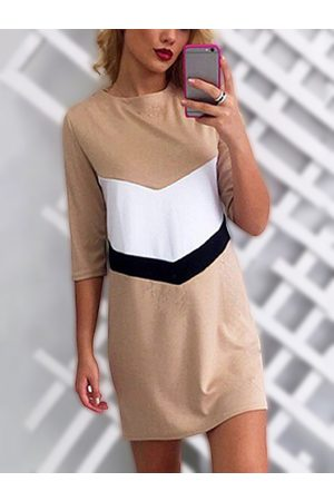 YOINS Round Neck Half Sleeves Colorblock Shirt Dress