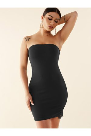 YOINS Lace Insert Strapless Bodycon Hem Dress