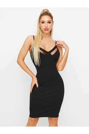 YOINS Black Mesh Patchwork Backless Spaghetti Strap Dress
