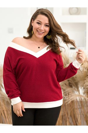 YOINS Plus Size V Neck Long Sleeves Sweater