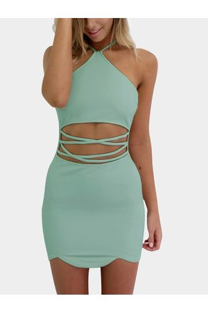 YOINS Army Sexy Halter Neck & Cutout Waist Mini Dress