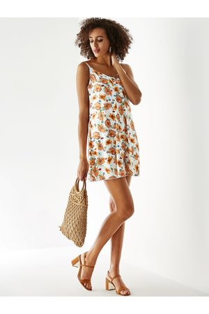 YOINS Floral Print Criss-cross V-neck Sleeveless Dress