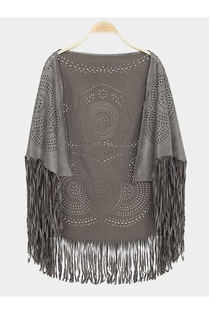 YOINS Grey Vintage Pattern Bohemia Cape With Tassel Trims