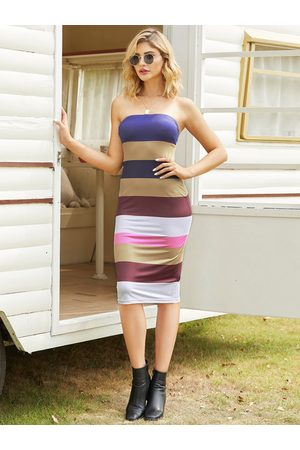 YOINS Multi Color Stripe Tube Top Dress