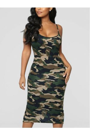 YOINS Camo Backless Design Square Neck Sleeveless Spaghetti Strap Dress