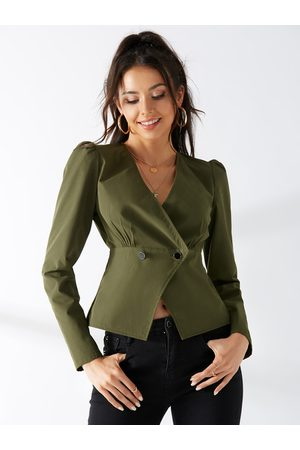 YOINS Crossed Front V-neck Puff Sleeves Jacket